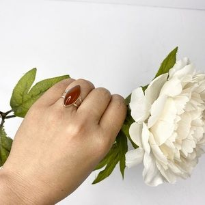 Vintage Carnelian Stone Marquise Silver Ring